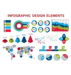 Map and charts infographis elements vector image