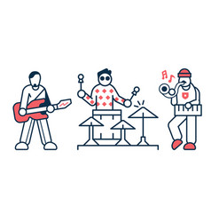 music rock band artists icons in line art vector image
