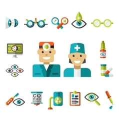 Optical icons Ophthalmology Icons Set vector image