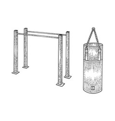 parallel bars punching bag sport equipment sketch vector image