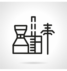 Petrochemical plant black line icon vector