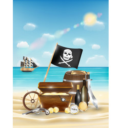 pirate treasure on a sand beach with bright sea vector image
