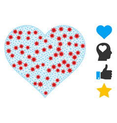 Polygonal wire frame love heart pictograph vector
