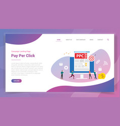 Ppc pay per click or paid per click for website vector