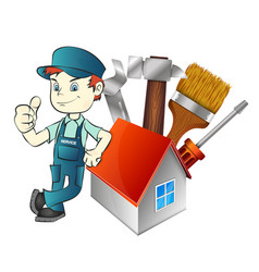 Repairman at home with a tool vector