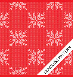 seamless knitted pattern with flower pattern vector image