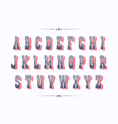 Serif bold two color retro font with red shadow vector