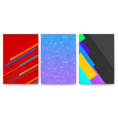 set covers with geometric colored shapes vector image