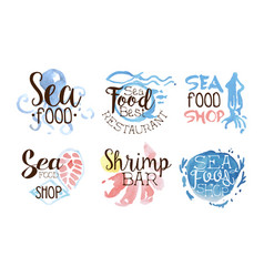 set labels on theme sea food on a vector image