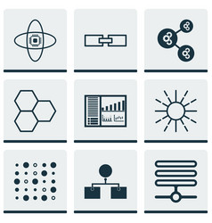 Set of 9 machine learning icons includes variable vector