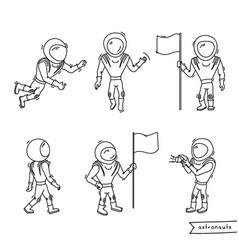 set of of astronaut vector image
