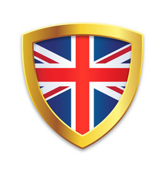 Shield gold edge with uk united kingdom flag vector