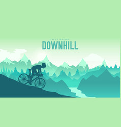 silhouette yang man riding a mountain bike vector image