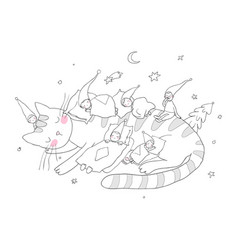 Sleeping cute little gnomes and a cat magic elves vector