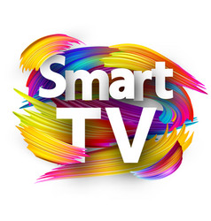 Smart tv sign with colorful brush strokes vector