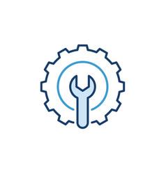 Spanner inside cog wheel icon settings vector