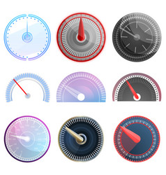speedometer icon set cartoon style vector image