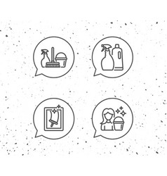 spray window cleaning and maid equipment icons vector image