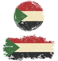 sudanese round and square grunge flags vector image