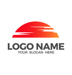 sun and clouds logo design inspiration vector image