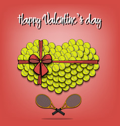Tennis balls laid out in the shape of the heart vector