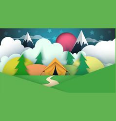 tent cartoon paper landscape vector image