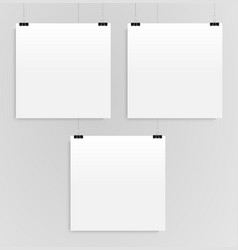 three square posters mockups three banners vector image