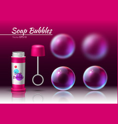 transparent soap bubbles realistic tube 3d vector image