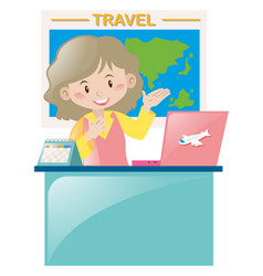 Travel agency working at desk vector