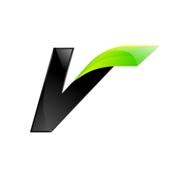 V letter black and green logo design Fast speed vector image
