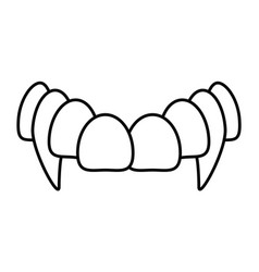 Vampire mouth fang teeth isolated on white vector