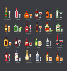 Various alcohol bottles with glasses flat icons vector