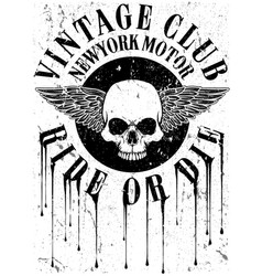 Vintage motorcycle with skull tee graphic design vector