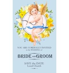 Vintage wedding invitation with cupid vector