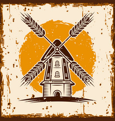 Windmill advertising banner vector