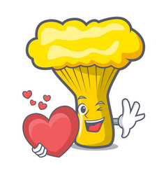 With heart chanterelle mushroom mascot cartoon vector