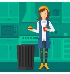 Woman throwing junk food vector