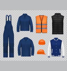 Workers overalls uniform jacket and vest mockups vector