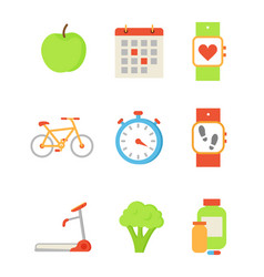 wristwatch and apple icons set vector image