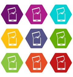 broken phone icon set color hexahedron vector image