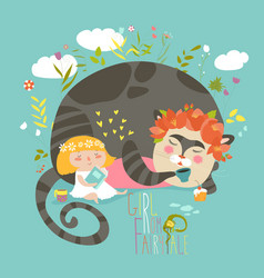 cute girl reading book for magic cat vector image vector image