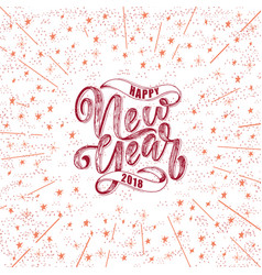 happy new year hand drawn lettering for card vector image vector image