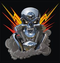 metal skull with engine vector image