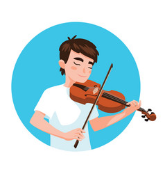 musician playing violin boy violinist is inspired vector image
