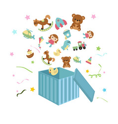 open box with childrens icons open box with vector image