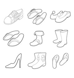 shoes icon set outline style vector image