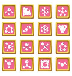 molecule icons pink vector image