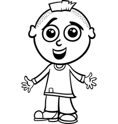 cute boy cartoon coloring page vector image vector image