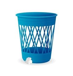 plastic blue basket trash bins on white vector image