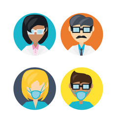 set doctor with glasses and mask vector image